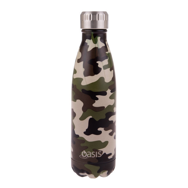 Oasis Stainless Steel Insulated Drink Bottle - Camo Green (500ml)