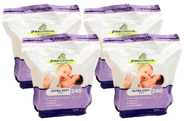 Precious - Ultra Soft Wipes (240 Wipes, Carton 4)