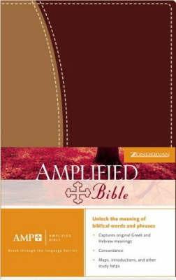 Bible Amplified Duo-tone Burgundy/tan by Zondervan Publishing image