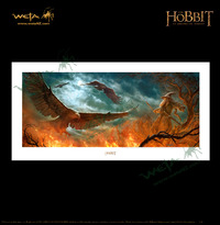 "The Hobbit 23"" Art Print: Out of the Fire Eagles Rescue - by Weta"
