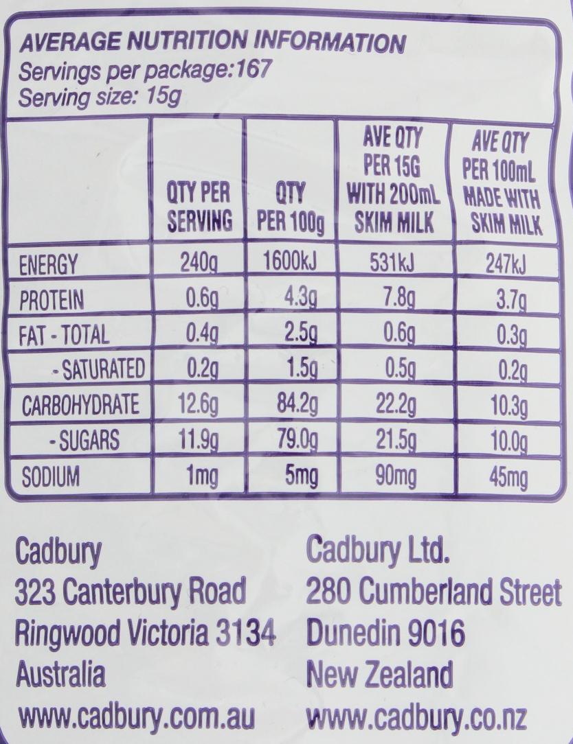 Cadbury Dark Chocolate Nutrition Facts