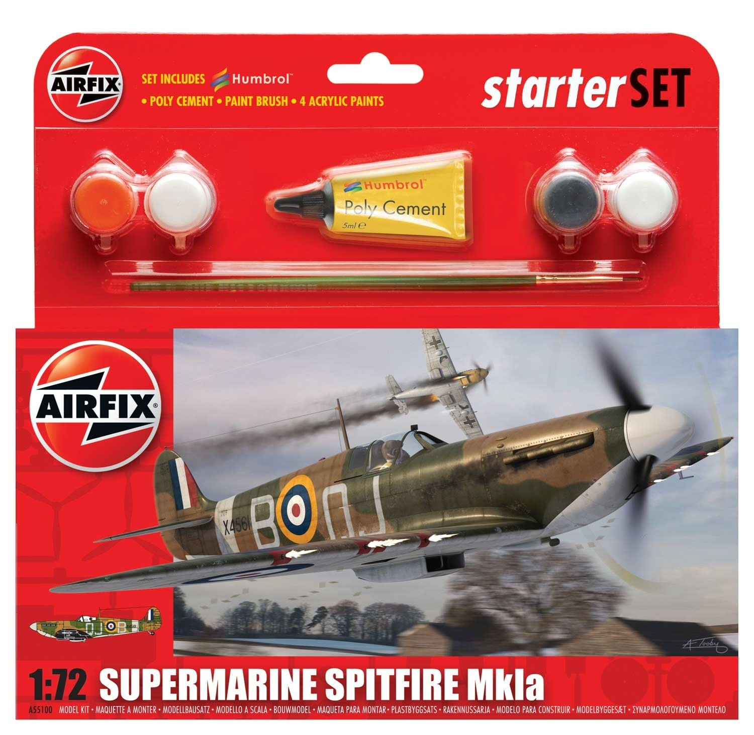 Airfix Supermarine Spitfire Mkla Starter Set 1/72 Model Kit image