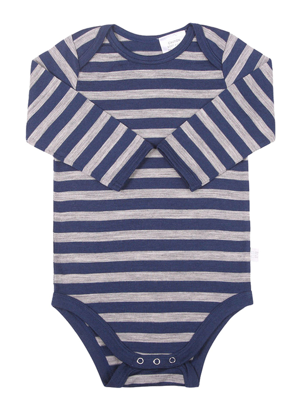Babu: Merino Sleeved Bodysuit - Navy Stripe (New Born)