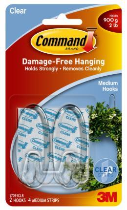 Command Clear Medium Hooks with Strips (2 Pack)