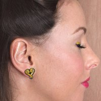 Tape Measure My Love Heart Stud Earrings image