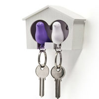 Qualy Duo Sparrow Key Ring (White/Purple)