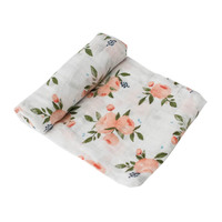 Little Unicorn: Cotton Muslin Swaddle - Watercolour Roses (Single)
