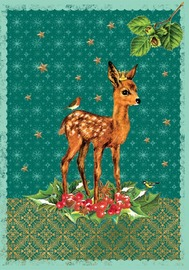 Deer & Holly Flitter Cards (Pack of 5)