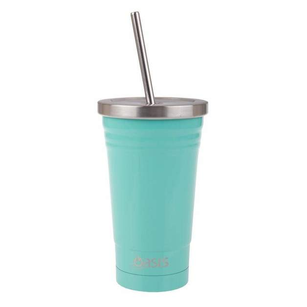 Oasis: Insulated Smoothie Tumbler With Straw - Spearmint (500ml)