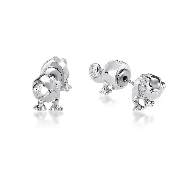 Couture Kingdom: Disney Princess Rapunzel Pascal Earrings - White Gold