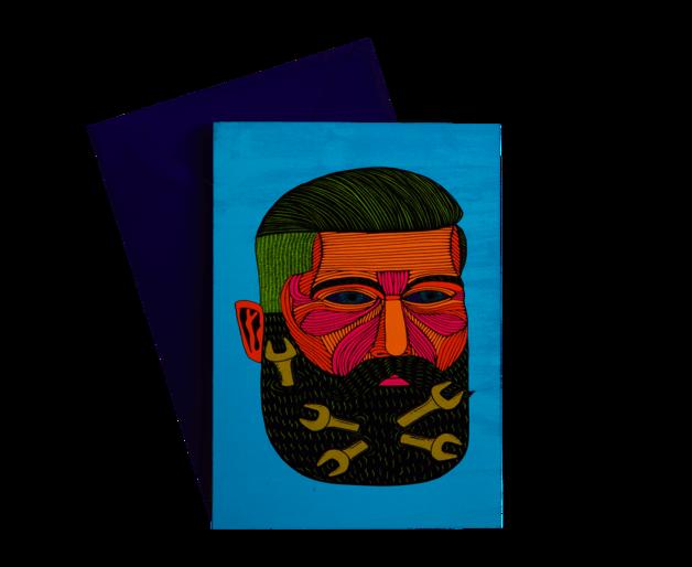 Maxwell & Williams: Mulga The Artist Greeting Card - Spanner Man
