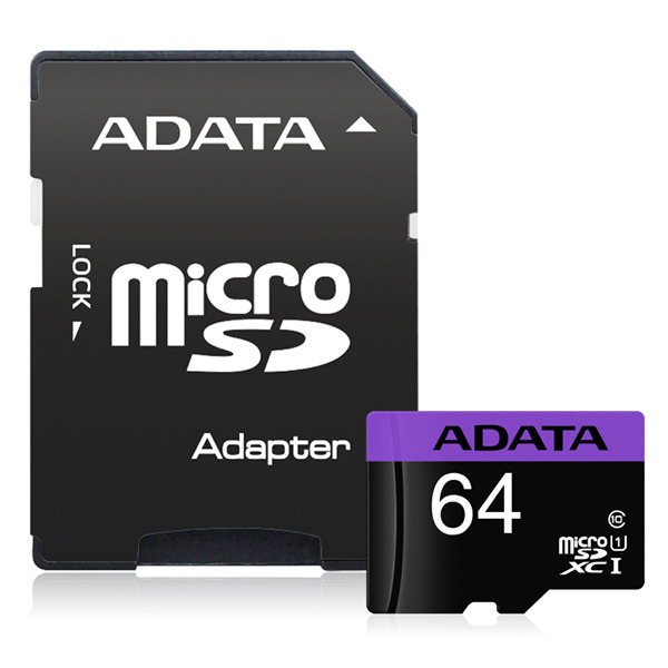 Adata: Premier microSDXC UHS-I Card with Adapter - 64GB