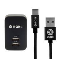 Moki Braided Type-C SynCharge Cable + Wall