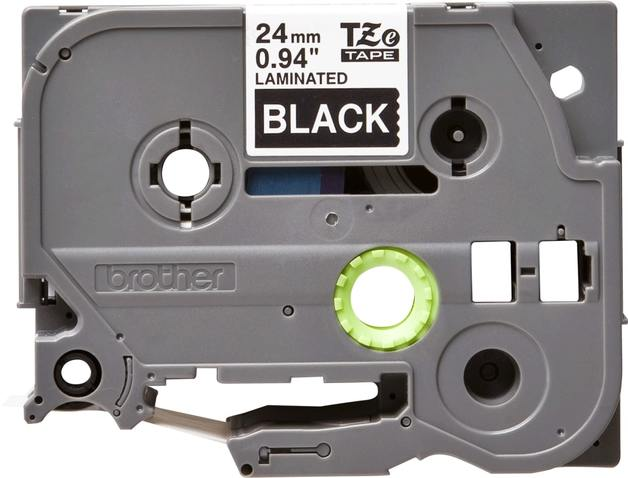 Brother TZe-355 Laminated Tape - White on Black (24mm x 8m)