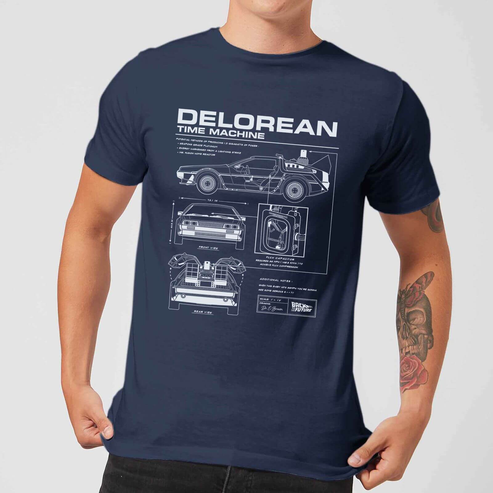 Back to the Future: DeLorean Schematic T-Shirt - Navy/X-Large image