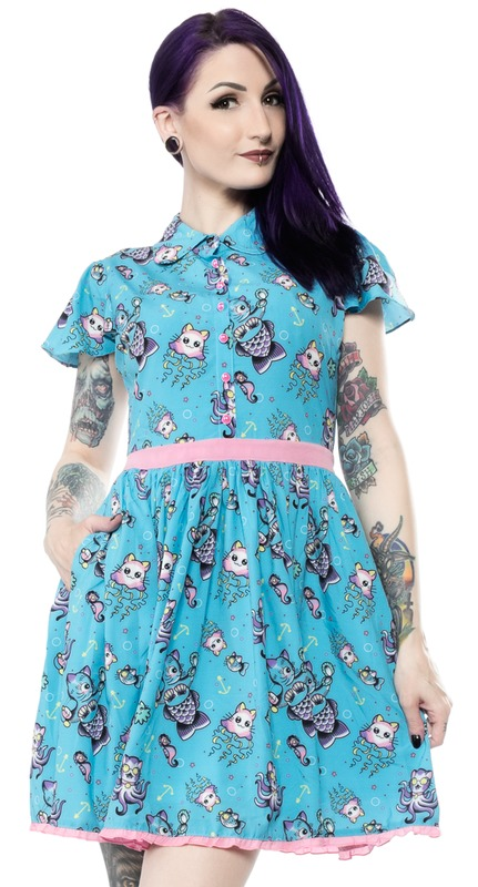 Sourpuss Kittens Of The Sea Lydia Dress (Large)