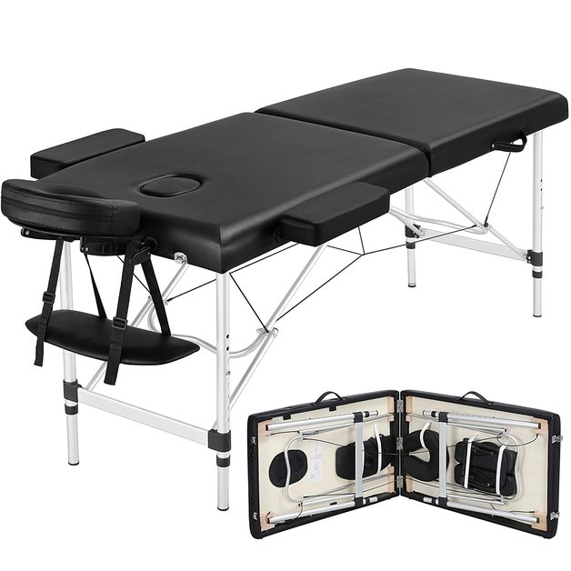 Portable 2-Fold Massage Table Bed Aluminium - Black