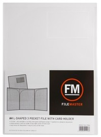 FM A4 3 Pocket L-Shape File with Cardholder - Clear
