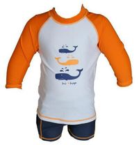 Hi-Hop: Whale Print Long Sleeve Rash Suit - Orange (1 Year)