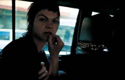 Valerie in the taxi, Paris, 2001