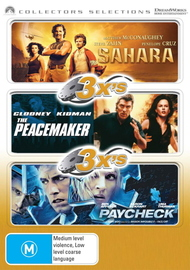 3x's - Sahara (2005) / Peacemaker / Paycheck (Collectors Selections) (3 Disc Set) on DVD image