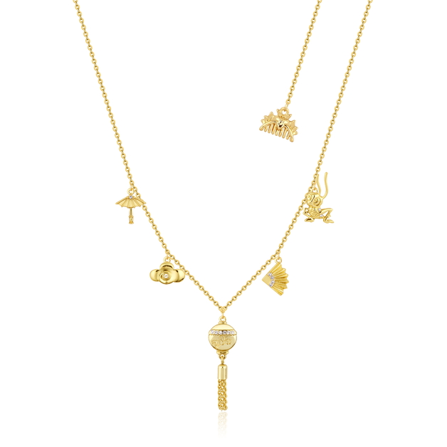 Couture Kingdom: Disney Mulan Choker Charm Necklace Yellow Gold