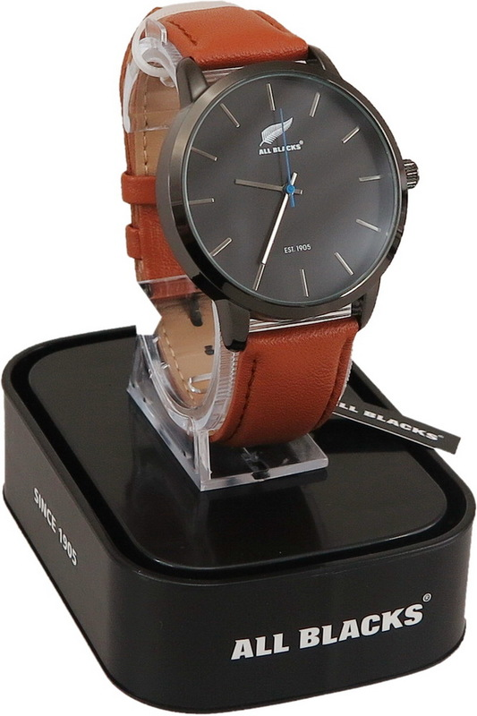 All Blacks Watch - Black Face/Brown Leather Strap