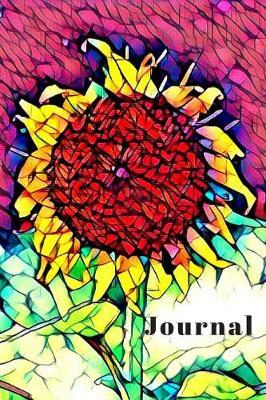 Pretty Yellow Sunflower Cute Flower Lover's Woman's Blank Lined Journal for daily thoughts Notebook by Sandy Closs