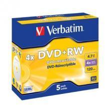 Verbatim DVD+RW 4.7GB 5Pk Jewel Case 4x