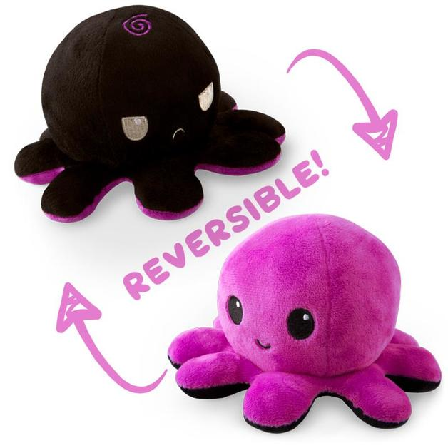 TeeTurtle: Reversible Mini Plush - Octopus (Purple/Black)