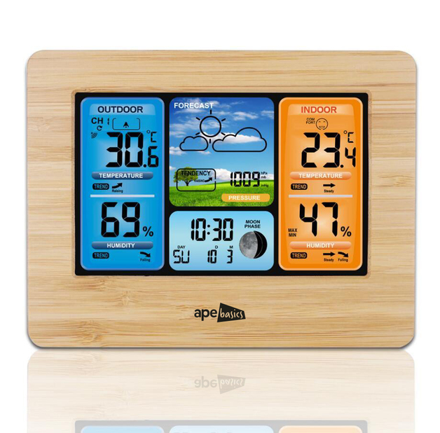 Ape Basics Wireless Sensor LCD Display Weather Station - Wood