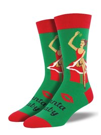 Socksmith: Mens Santa Baby Christmas Crew Socks - Green image