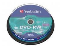 Verbatim DVD-RW 4.7GB 10Pk Spindle 4X image