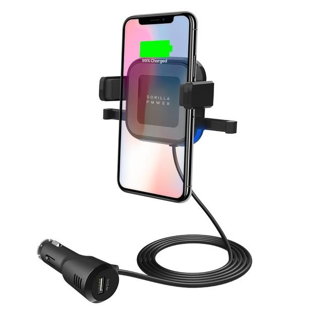 Mbeat Gorilla Power 10W Wireless Car Charger with 2.4A USB Port
