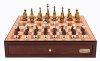 "Dal Rossi: Staunton Metal/Wood - 18"" Chess Set (Red Mahogany)"