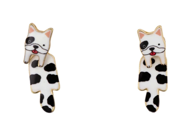 Short Story: Dog Drop Earrings - Frenchie