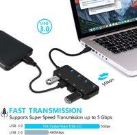 USB 3.0 Hub Splitter - 4 Port Ultra Slim Data Hub with Individual Power Switch and LED