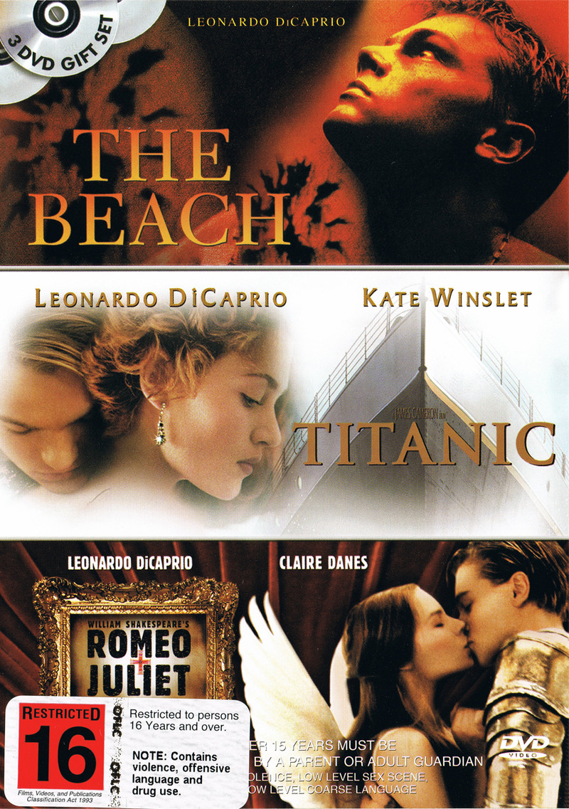The Beach, Titanic, Romeo & Juliet on DVD image