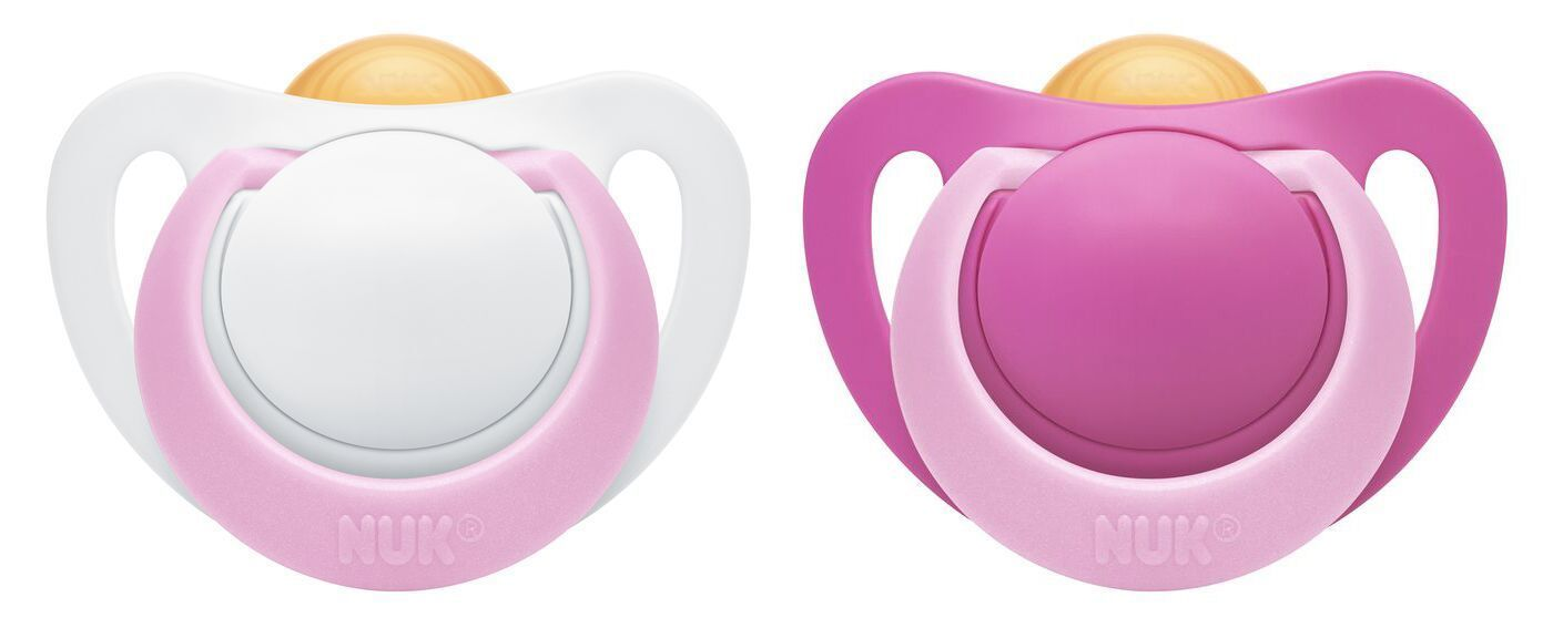 NUK: Genius Latex Soother - 6-18 Months Pink (2 Pack) image