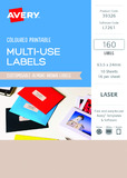 Avery L7261 Multi-Use Labels - Almond (10 Sheets/160 Labels)