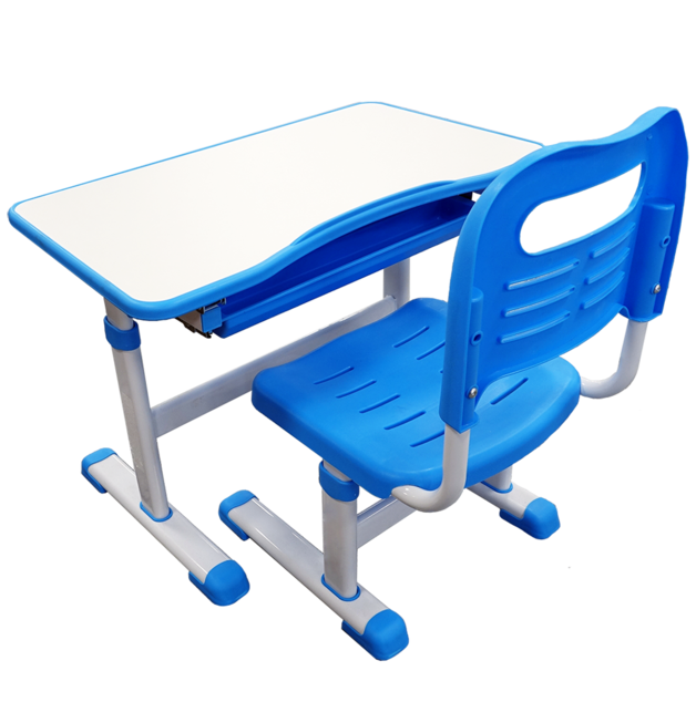 Gorilla Office: Kids Height Adjustable Desk with Chair - Blue