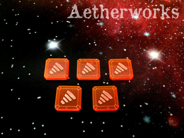 Aetherworks: Tractor Beam Tokens - Fluorescent Red (5 Pack)