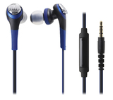 Audio-Technica Solid Bass In-Ear Headphones with Smartphone Control (Blue)