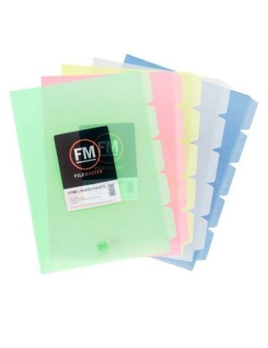 FM A4 5-Tab L Shape Pockets - Clear (Pack 5)