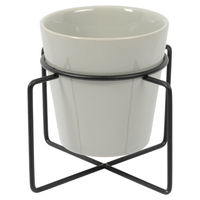 Ceramic Planter Pot with Black Stand - Grey (Small)