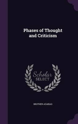 Phases of Thought and Criticism by Brother Azarias image