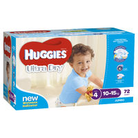 Huggies Ultra Dry Nappies: Jumbo Pack - Toddler Boy 10-15kg (72)