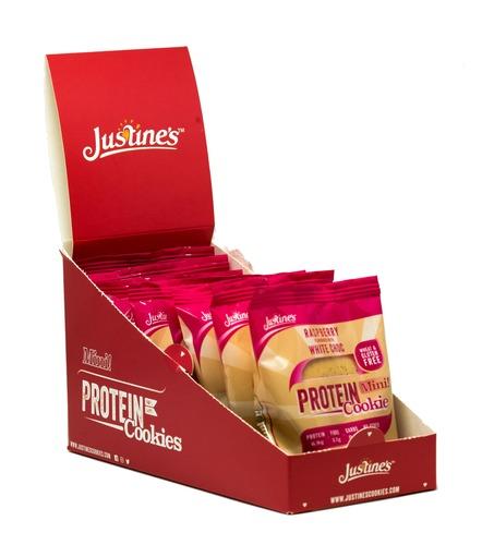 Justine's Mini Protein Cookies - White Chocolate Raspberry (10 x 25g)