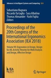Proceedings of the 20th Congress of the International Ergonomics Association (IEA 2018)