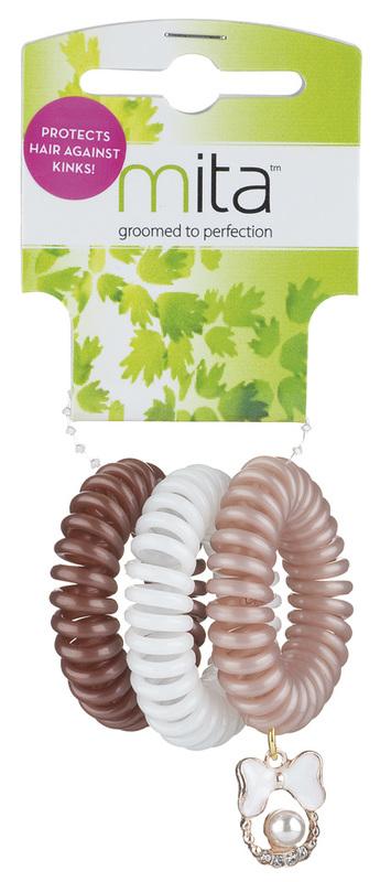 Mita: Faux Pearl Kink Resistant Spirals 3 Pack